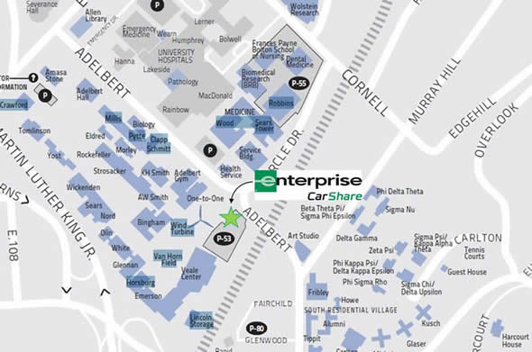 A map showing the location of Lot 53 and Enterprise CarShare at CWRU. Located east of Veale Center off Adelbert Road