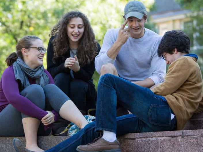Students talking outside at Case Western Reserve University