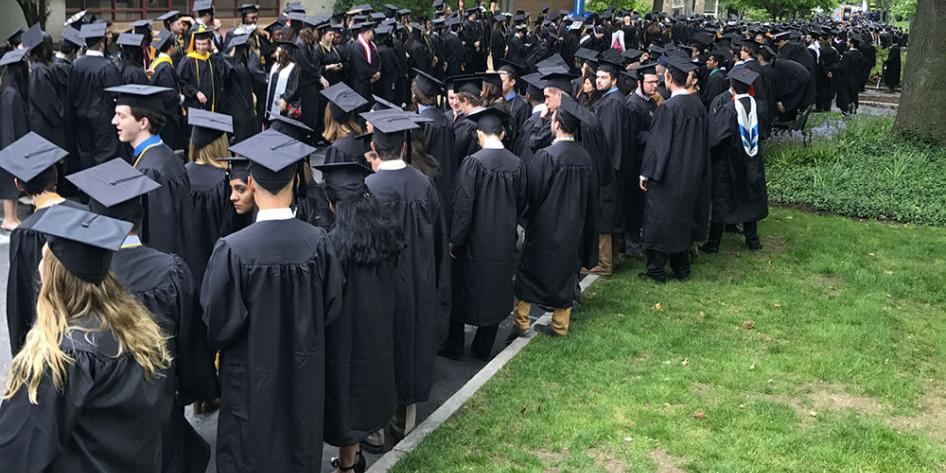 Case Western Reserve University Commencement 2017 graduating students lined up before the ceremony
