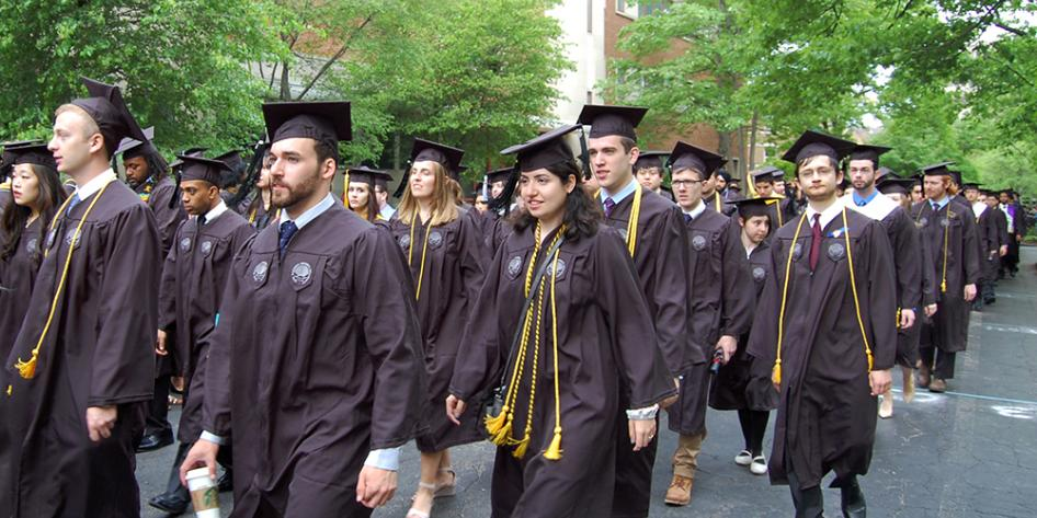 Case Western Reserve University Commencement 2017 graduating students walking to Veale Center for the ceremony