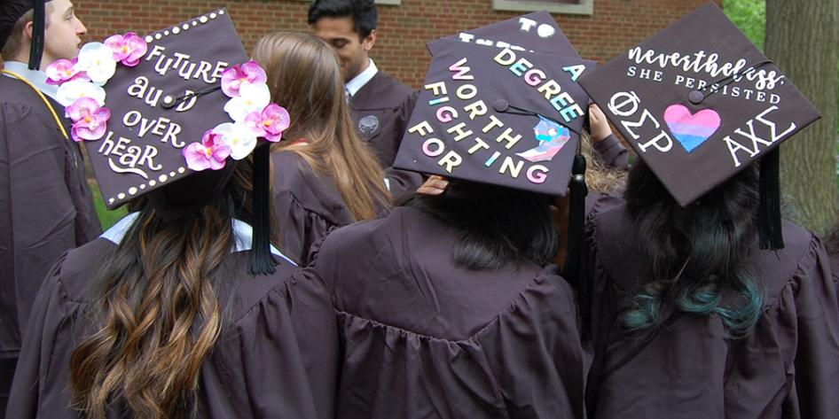 Decorated graduation caps: Future Au.D over hear; A degree worth fighting for; nevertheless, she persisted, phi epsilon rho, alpha chi epsilon