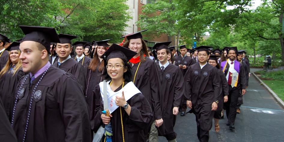 Case Western Reserve University Commencement 2017 undergraduate students walking to Veale Center for the ceremony