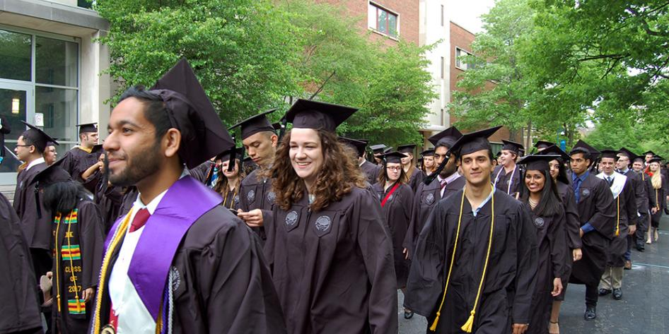 Case Western Reserve University Commencement 2017 graduating students walking to Veale Center for ceremony