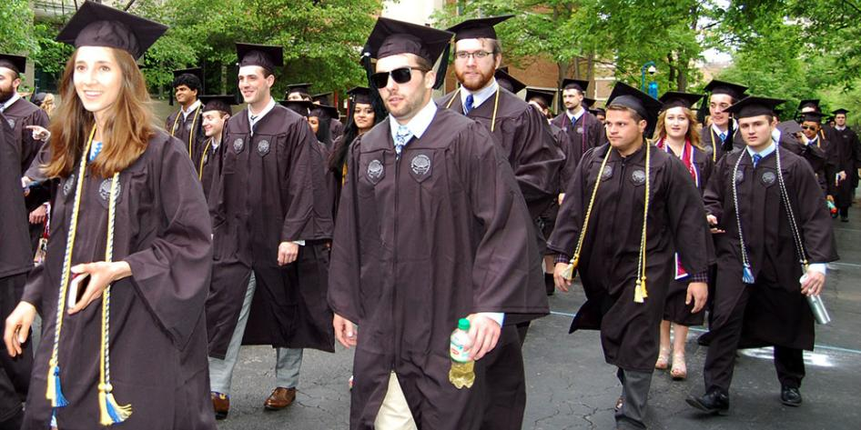 Case Western Reserve University Commencement 2017 undergraduates walking to Veale Center where ceremony is held