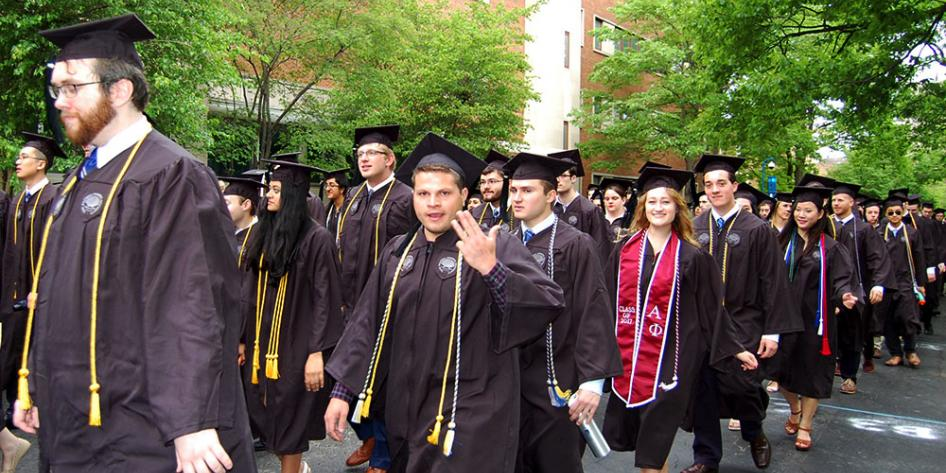 Case Western Reserve University Commencement 2017 undergraduates walking to Veale Center for the ceremony