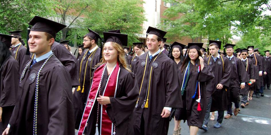 Case Western Reserve University Commencement 2017 undergraduates walking to Veale Center for ceremony