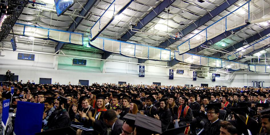 Case Western Reserve University Commencement 2017 graduating students seated in Veale Convocation Center