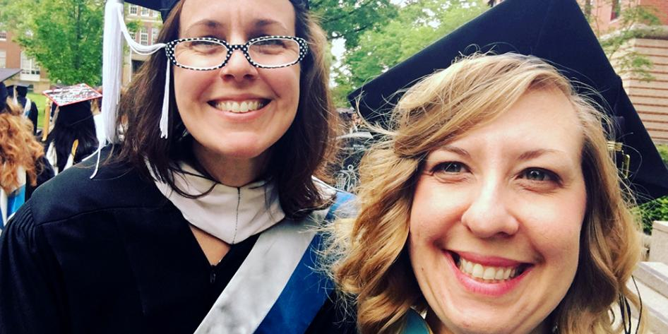 Case Western Reserve University Commencement 2017 Marshalls Dean Amanda McCarthy and Dean Denise Butler of Undergraduate Studies