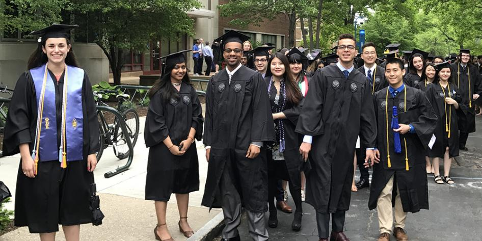 Case Western Reserve University Commencement 2017 graduating seniors outside Sears building