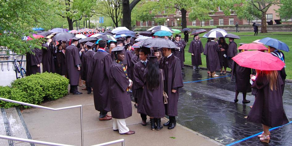 Case Western Reserve University Commencement 2016 group of students with umbrellas