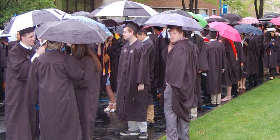 Case Western Reserve University Commencement 2016 students waiting outside on quad