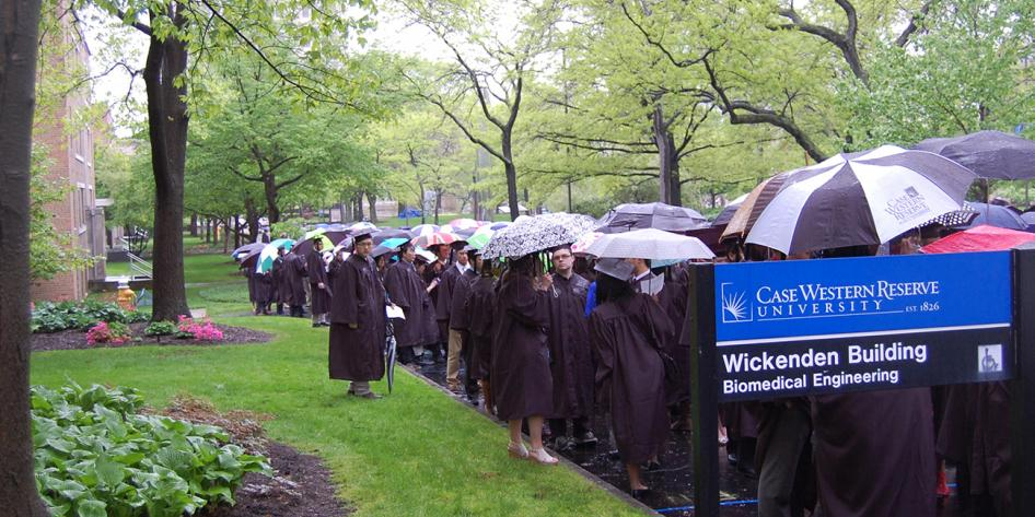 Case Western Reserve University  Est. 1826 students outside Wickenden Building Biomedical Engineering Commencement 2016