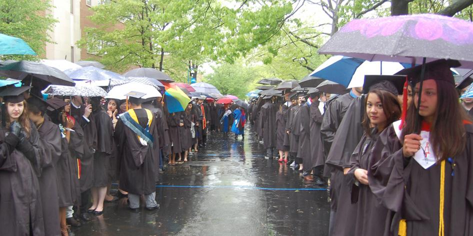 Case Western Reserve University Commencement 2016 graduating students stand in line outside