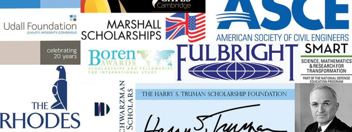 Collage of different scholarship logos