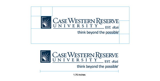 An image that shows the correct amount of space around the CWRU logo, the size of the sunburst