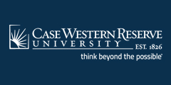 Case Western Reserve University logo in white with dark blue background