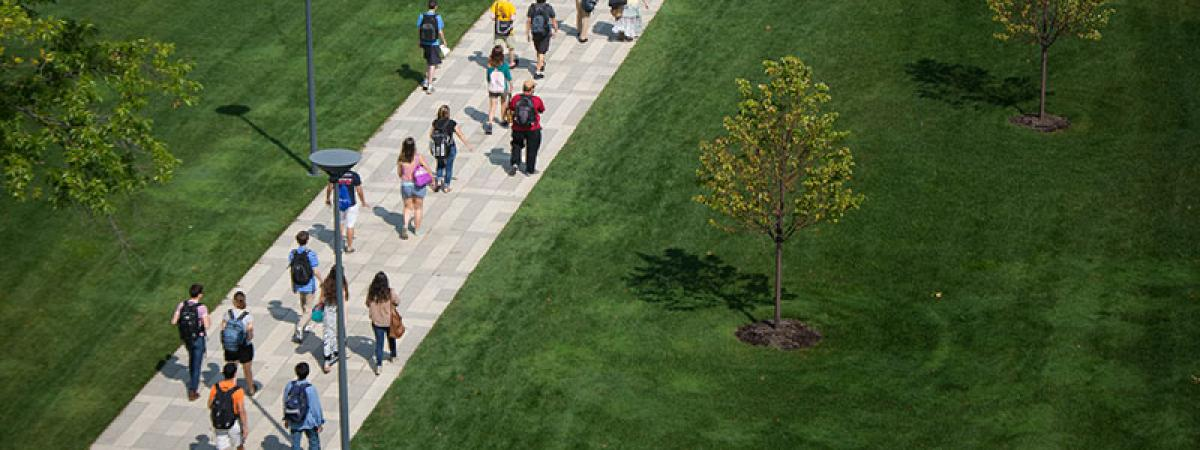 An overhead shot of the Case Western Reserve University binary walkway