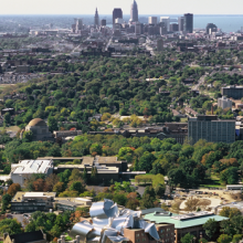 Aerial photo of CWRU Campus