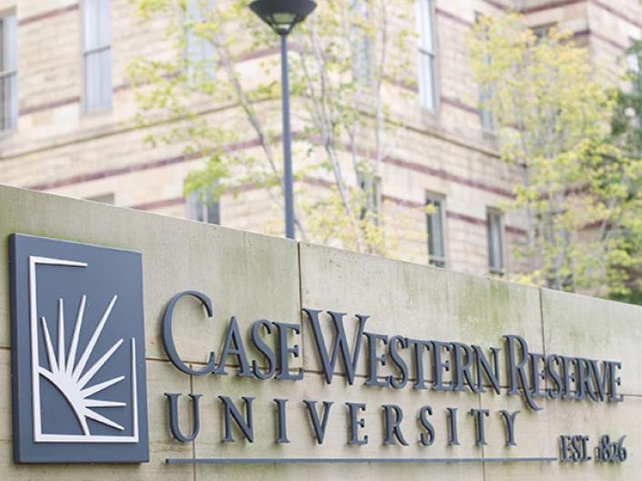 Case Western Reserve University sign in front of Adelbert Hall