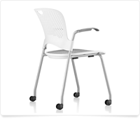 white rollling classroom chair