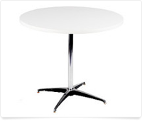 tall, white, round table