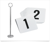 table number stand and numbers 1 and 2