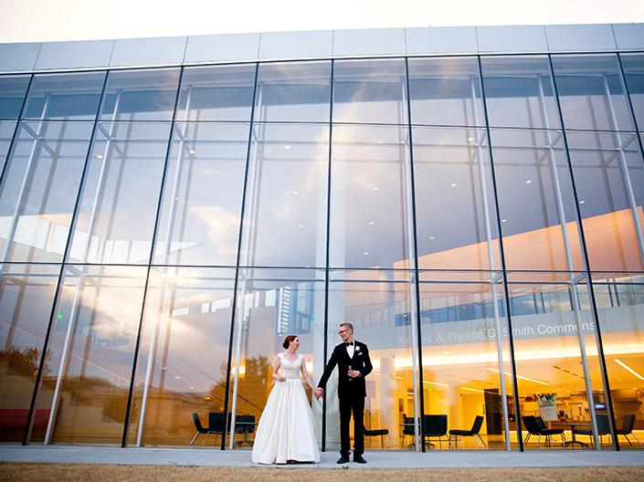 Bride and Groom outside of Building