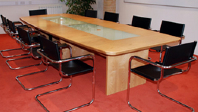 table in a meeting room