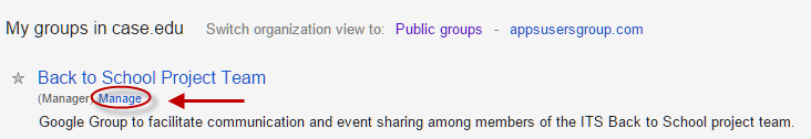 Manage Project button in Google Groups