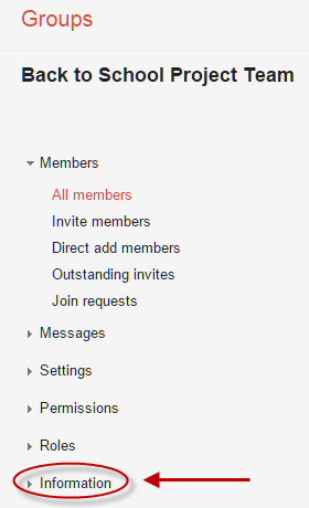 Manage Group screen with Information button highlighted