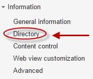 Google Groups Group Informations screen with Directory button highlighted