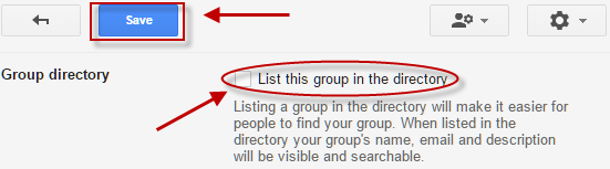 List Group in Directory screen with Save button highlighted
