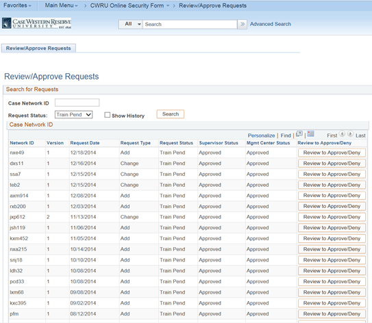 Screen shot of PeopleSoft Financials Review/Approve Requests page. The information shows users who's training is pending.