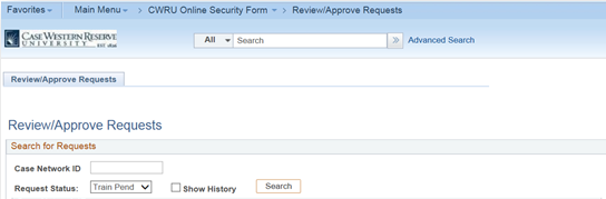 Screen shot of PeopleSoft Financials Review/Approve Requests page showing the form to Search for Requests.