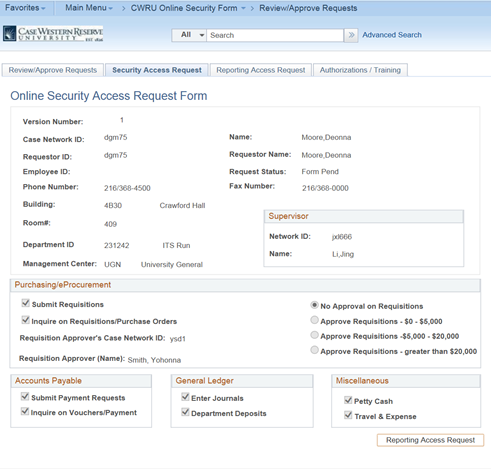 Screen shot of PeopleSoft Financials Online Security Access Request Form page with the Security Access Request tab highlighted. The page is populated with sample data.