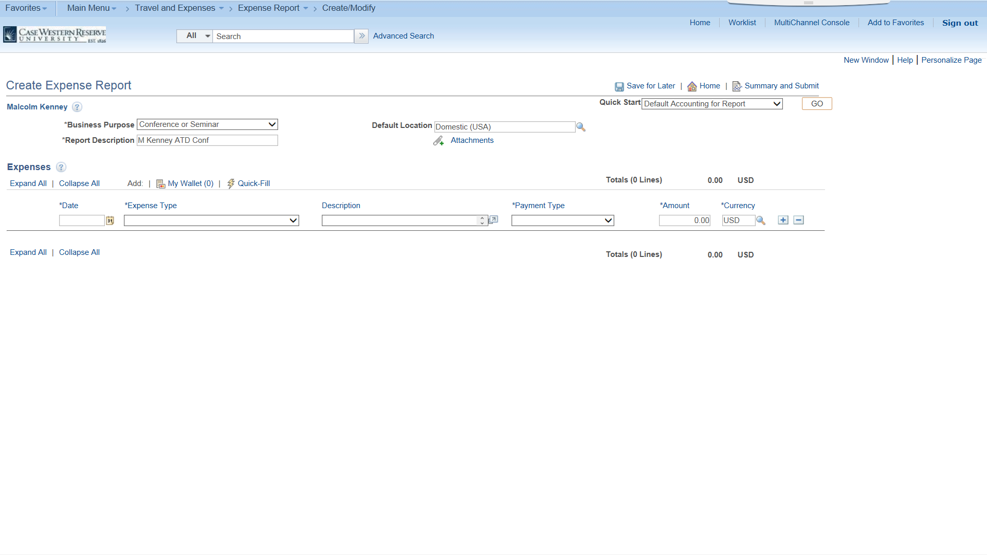 PeopleSoft Financials screen shot displaying Create Expense Report form