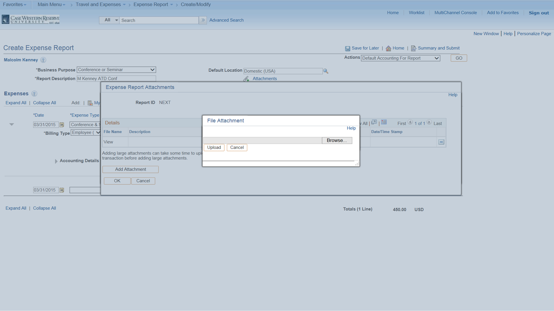 PeopleSoft Financials screen shot displaying the Add Attachment box to upload a file