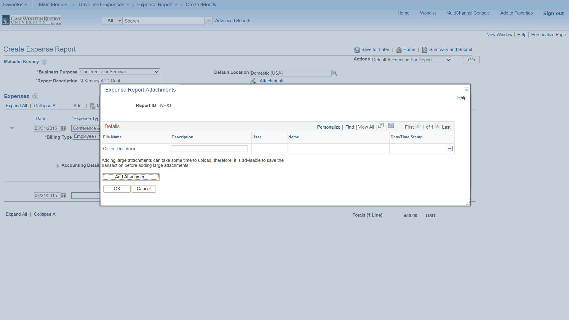 PeopleSoft Financials screen shot displaying the file to be uploaded