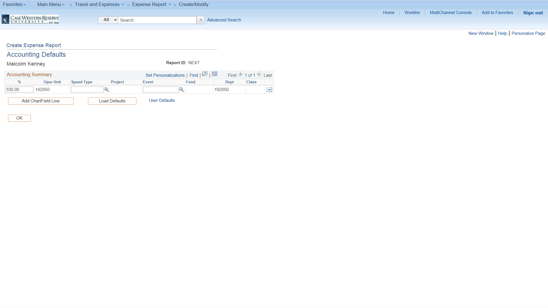 PeopleSoft Financials screen shot displaying the Account Defaults form