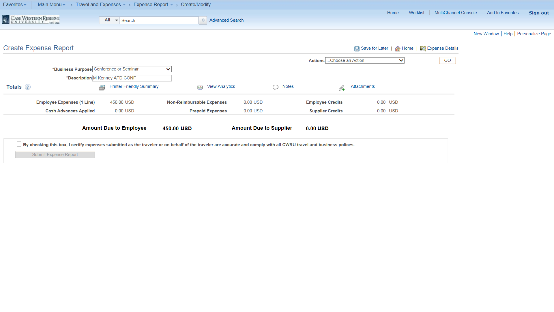 PeopleSoft Financials screen shot displaying create expense form