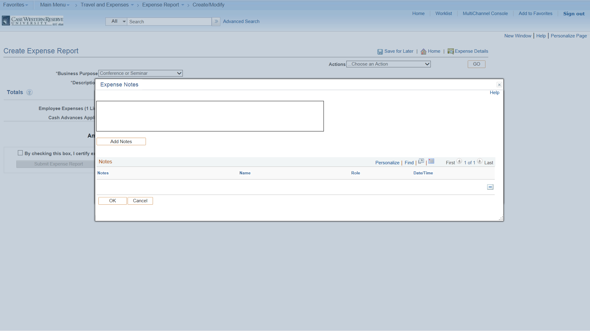 PeopleSoft Financials screen shot displaying a text box where comments or notes may be added.