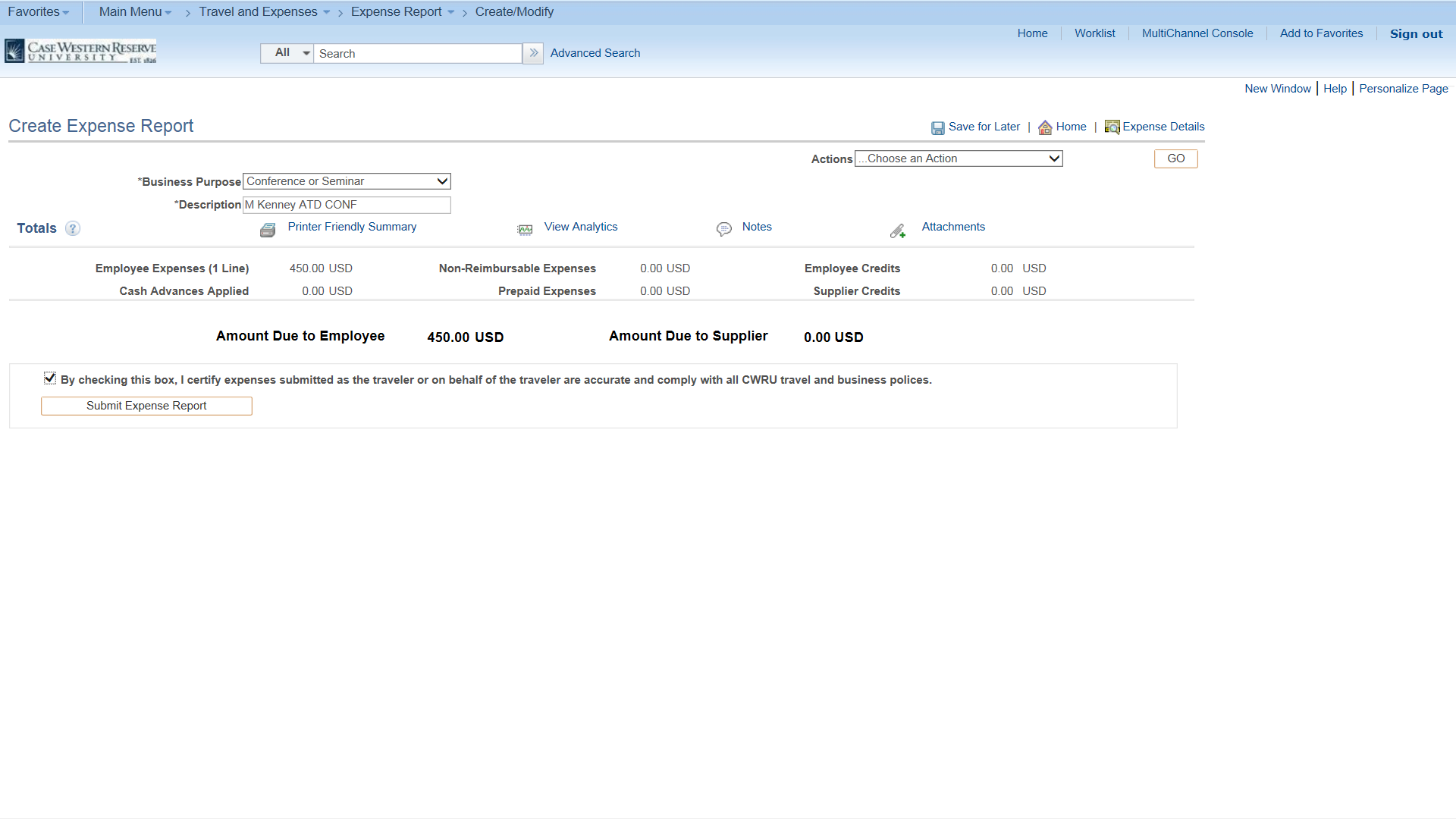 PeopleSoft Financials screen shot displaying the ability to submit the request