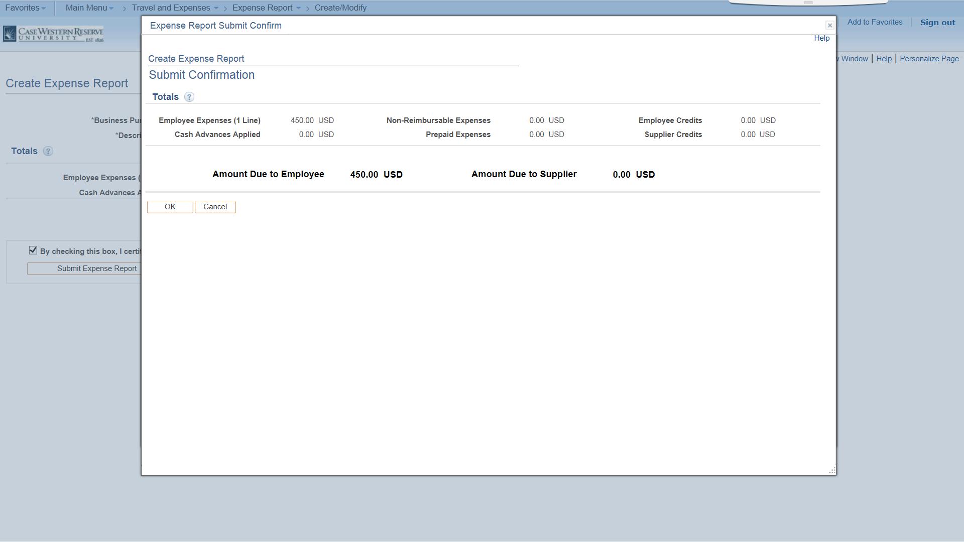 PeopleSoft Financials screen shot displaying expense report confirmation