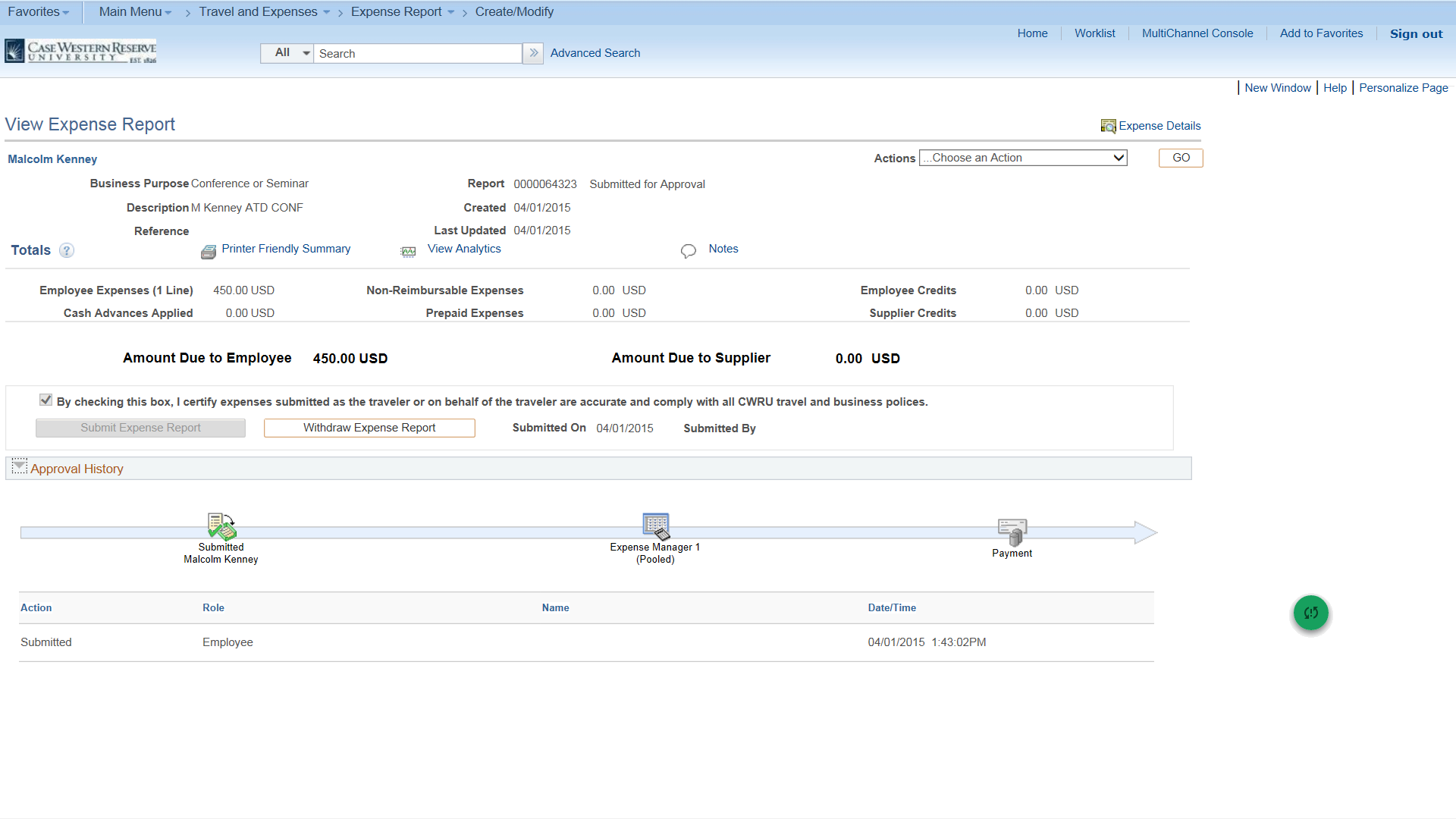 PeopleSoft Financials screen shot displaying View Expense Report form