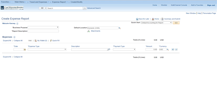 PeopleSoft Financials screen shot displaying the Create Expense Report form