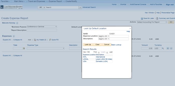 PeopleSoft Financials screen shot displaying a lookup insert in the Create Expense Report form labeled Look Up Default Location