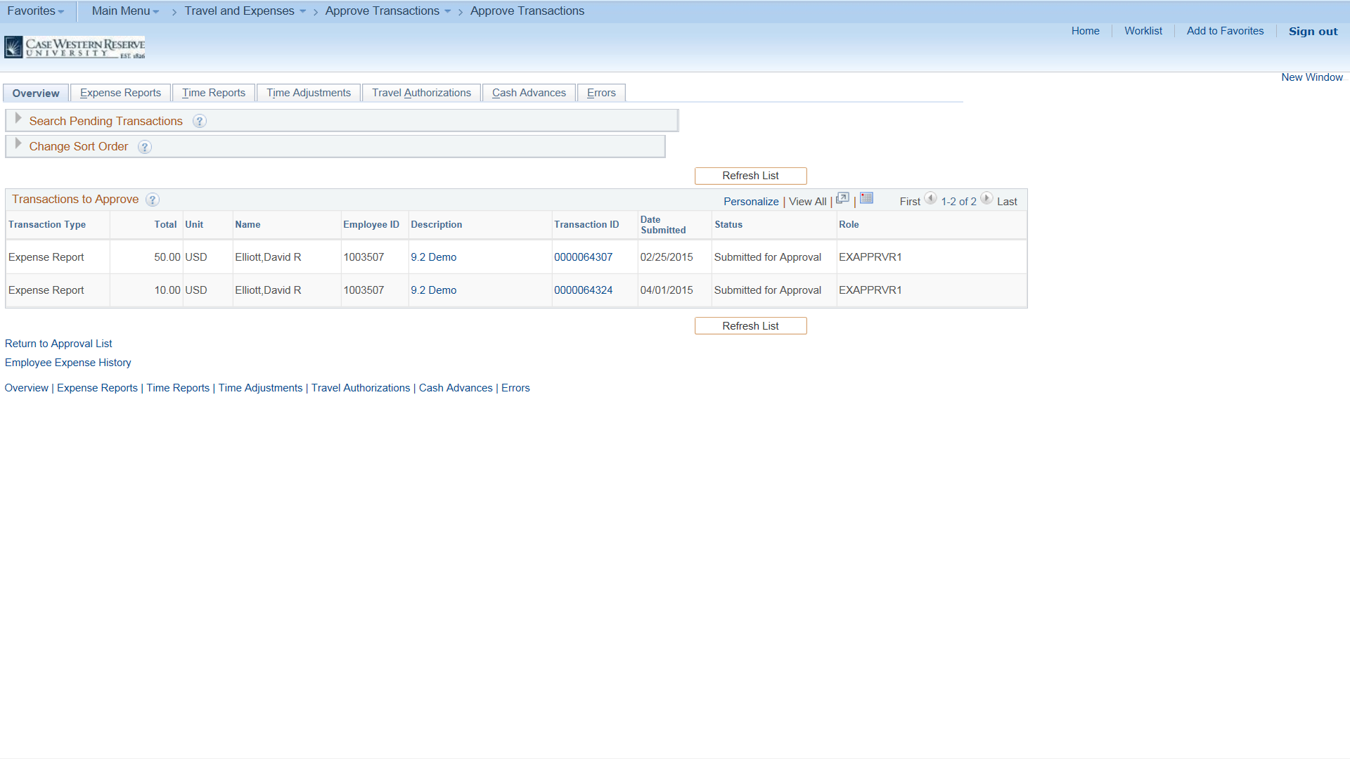 "Screenshot of ""Approve Transactions"" screen with a list of two transactions awaiting approval"