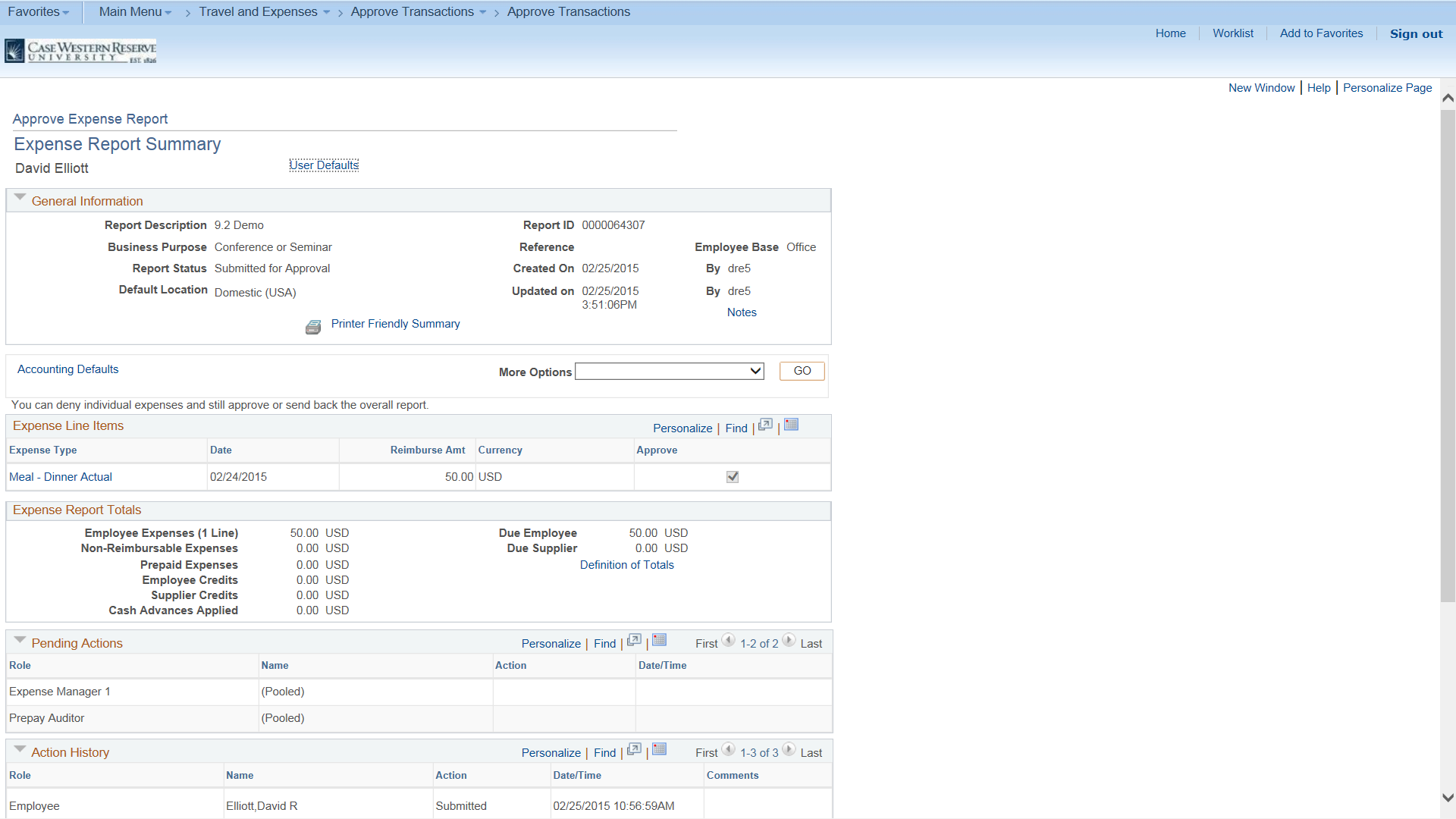 "Screenshot of the ""Expense Report Summary"" page feautring all stored information on the selected report"