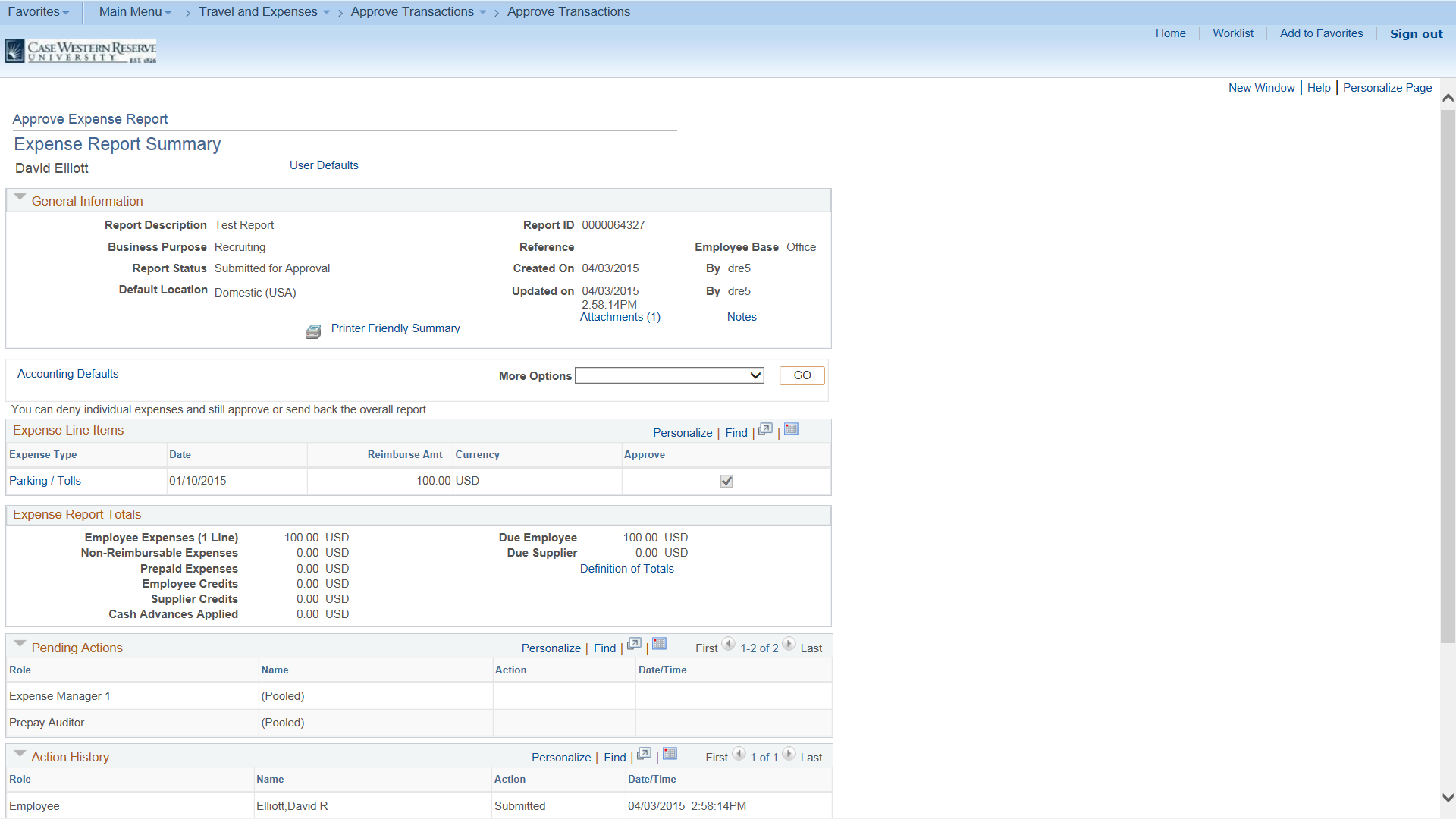 Screenshot of full expense report summary