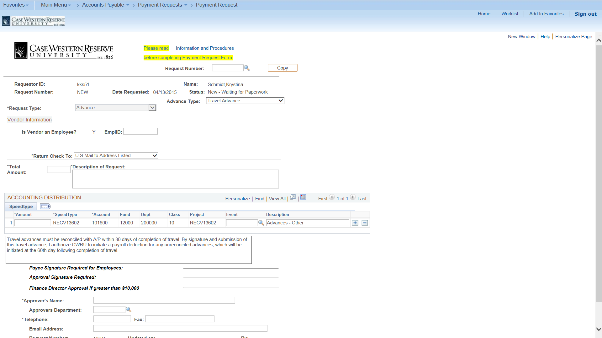 Peoplesoft submitting a payment request for cwru employees screenshot of the peoplesoft payment request page with the advacne type field set to travel altavistaventures Image collections